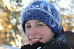 My son Gustav, in frosty weather after x-country skiing!
